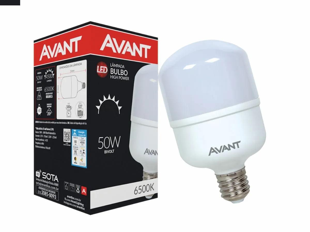 LAMPADA ALTA POTENCIA 50W LED E27 BIVOLT 6500K 4400ML AVANT