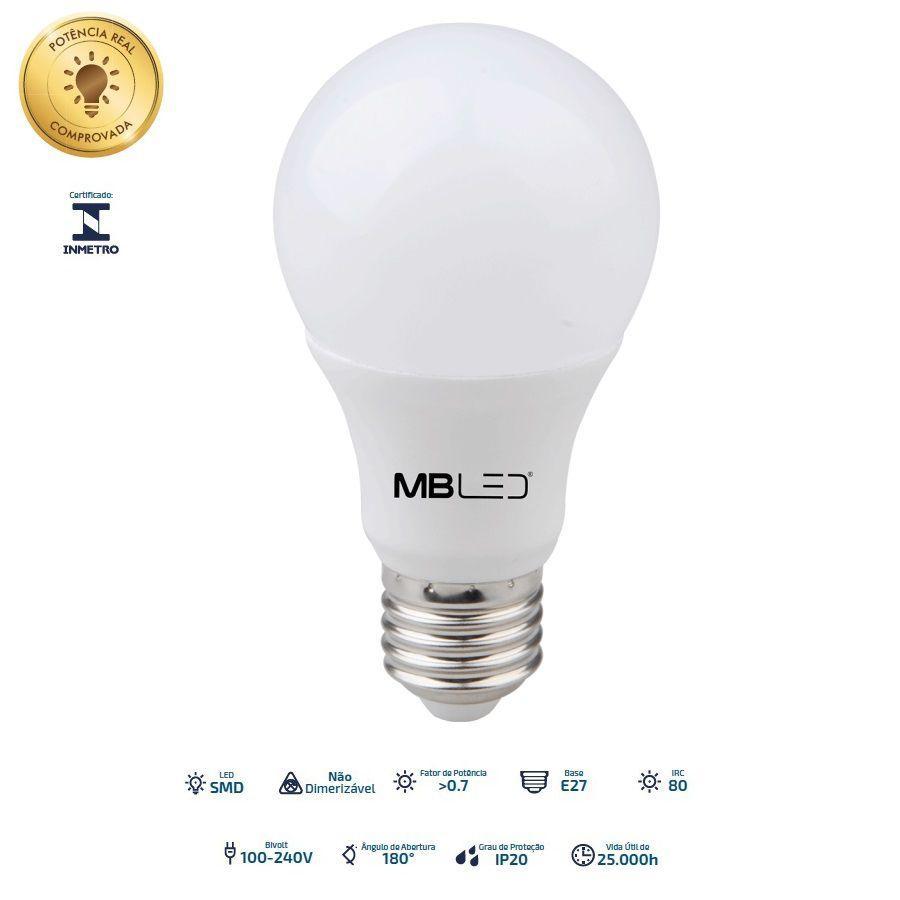 LAMPADA BULBO 15W LED BIVOLT BRANCO QUENTE 3000K MBLED
