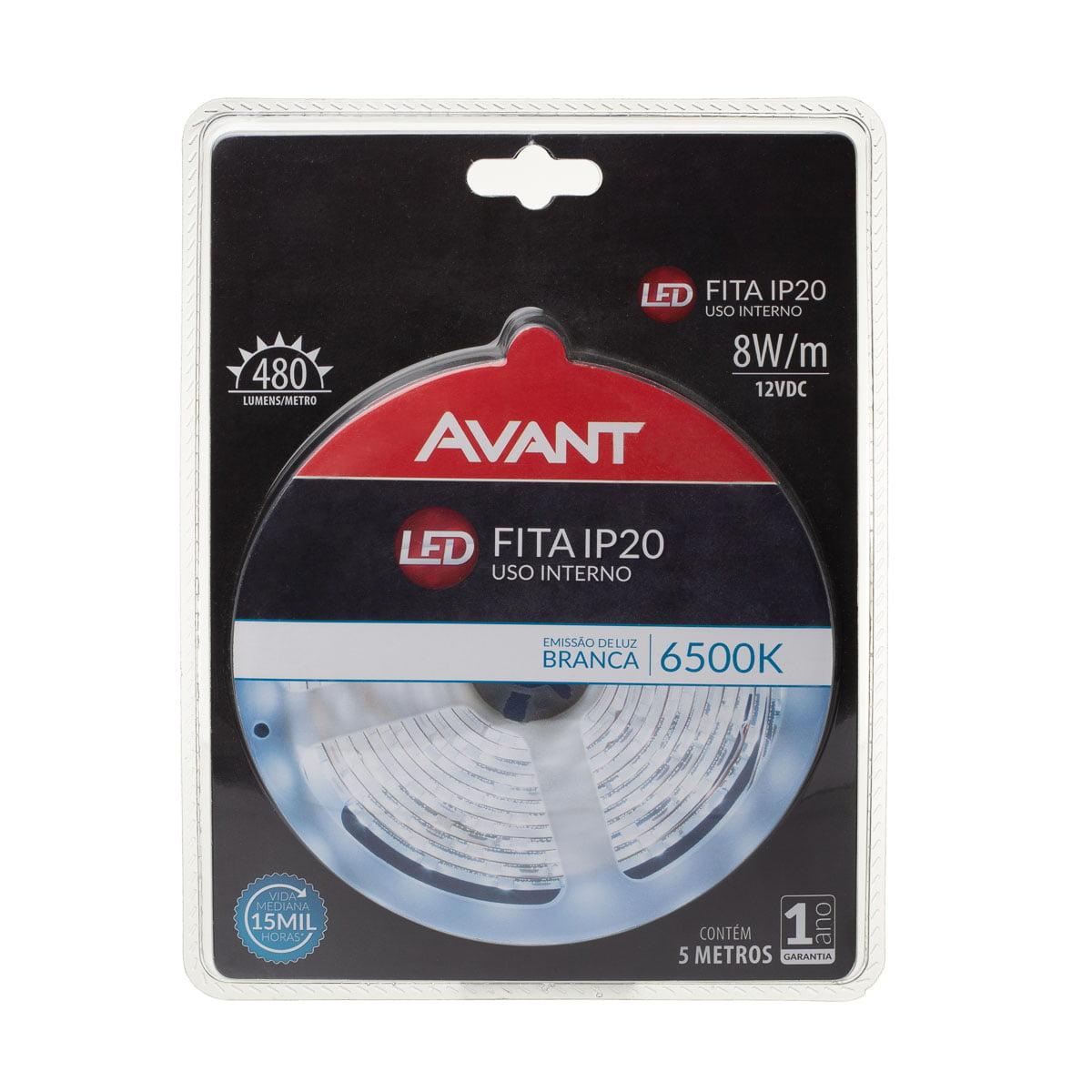 FITA DE LED SMD3528 12V IP20 8W/M ROLO 5M 6500K AVANT
