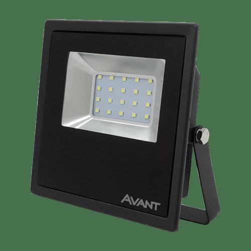 REFLETOR LED 30W BIVOLT BRANCO FRIO 6500K PRETO
