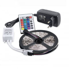 FITA LED RGB COLORIDA ROLO COM 5 METROS COMPLETA BELL
