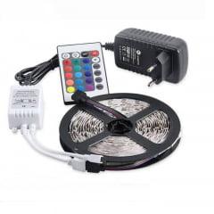 FITA LED RGB COLORIDA ROLO COM 5 METROS COMPLETA GAYA