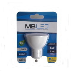 LAMPADA DICROICA LED 6W BRANCO QUENTE 3000K MBLED