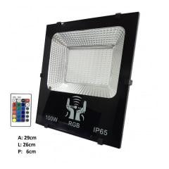 REFLETOR LED 100W RGB C/CONTROLE BIVOLT C/MEMORIA