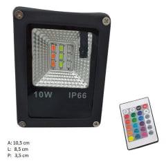 REFLETOR LED 10W RGB C/CONTROLE BIVOLT C/ MEMORIA